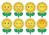 Sunflower facial expression set