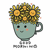 Sunflower in cup and good morning word vector illustration