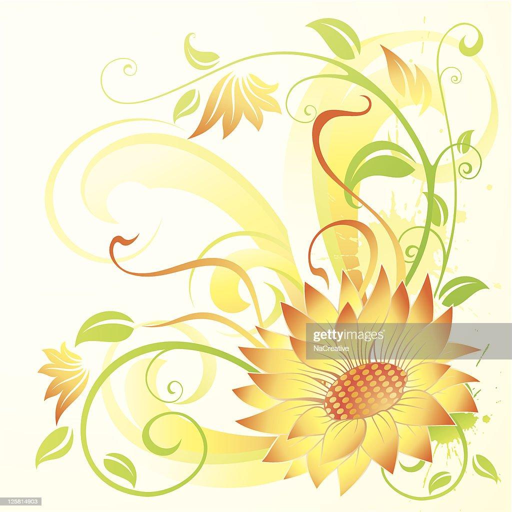 Sunflower swirls abstract background
