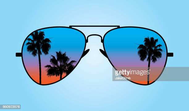 sunglasses at sunset - sunglasses stock illustrations