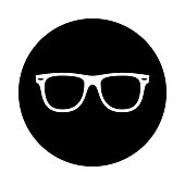 Sunglasses circle icon. Black, round, minimalist icon isolated on white background.