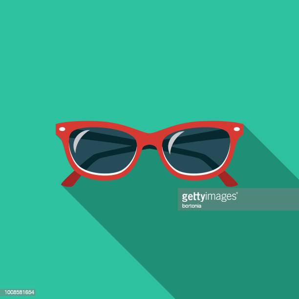 sunglasses flat design travel & vacation icon - sunglasses stock illustrations