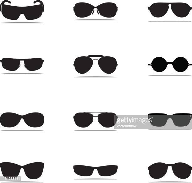 sunglasses icon silhouettes - sunglasses stock illustrations, clip art, cartoons, & icons