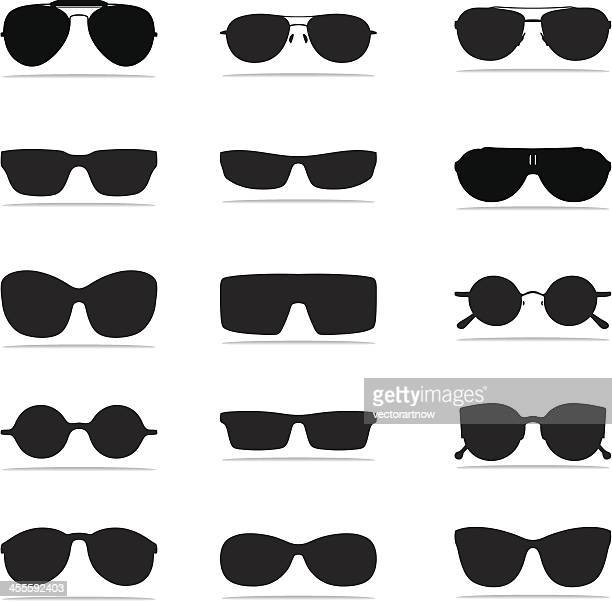 sunglasses icon silhouettes - sunglasses stock illustrations