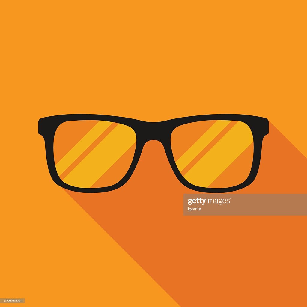 sunglasses icon with long shadow. flat style vector illustration