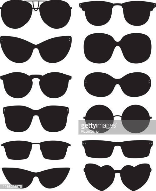 sunglasses silhouettes - cat's eye glasses stock illustrations