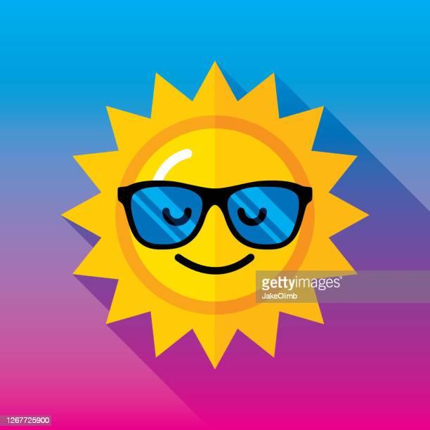 ilustrações, clipart, desenhos animados e ícones de óculos de sol ícone do sol flat 2 - acessório ocular