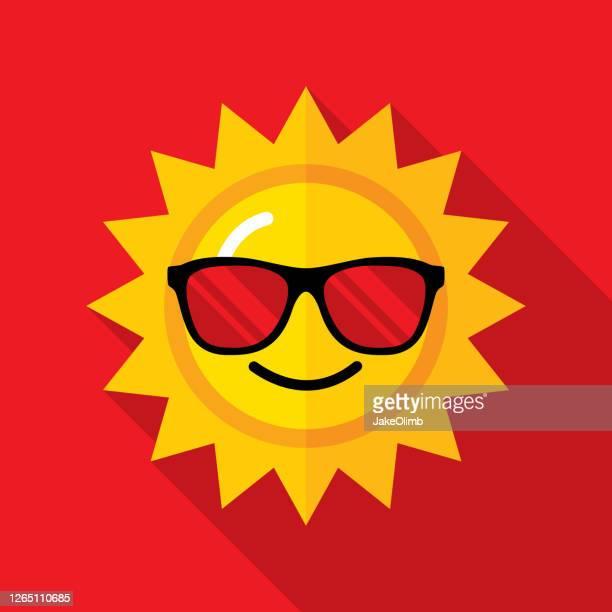 sunglasses sun icon flat - sunlight stock illustrations