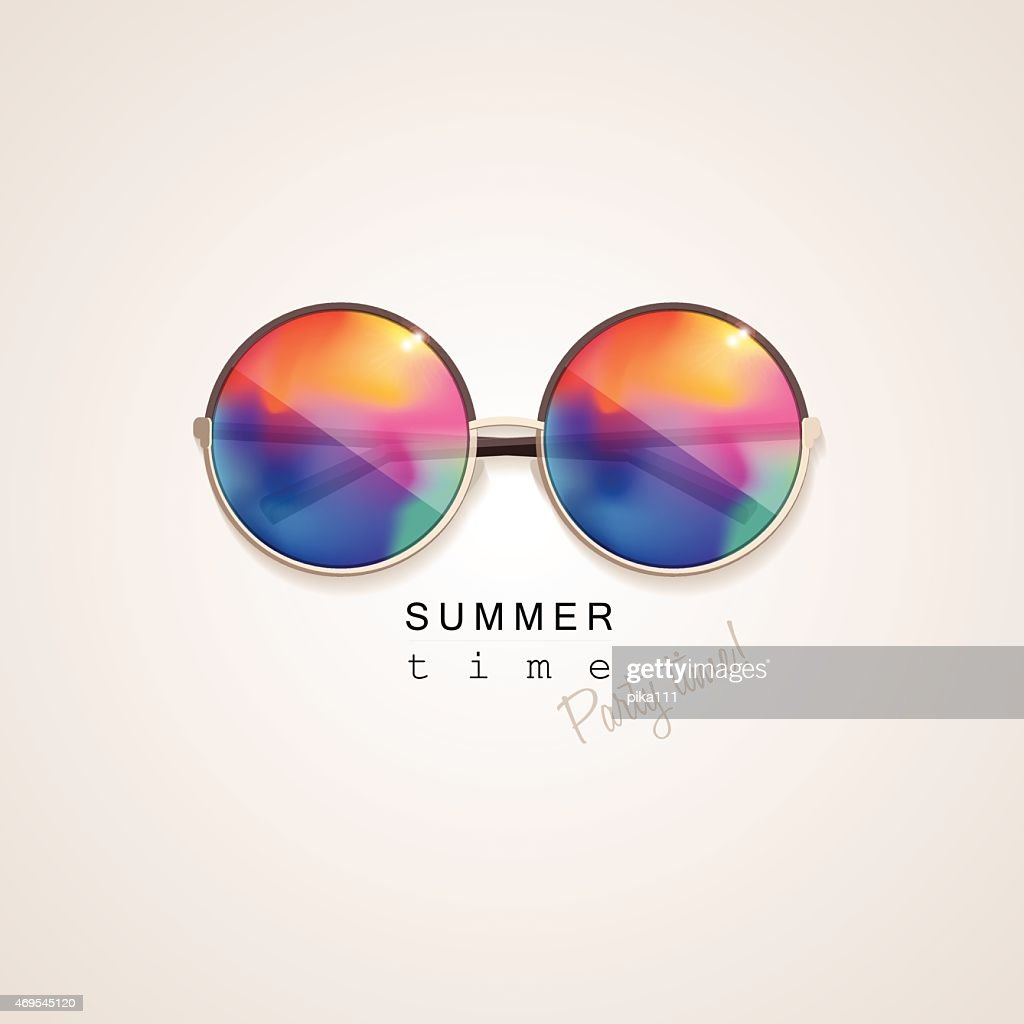 sunglasses with vivid multicolored abstract gradient mesh glass mirrors