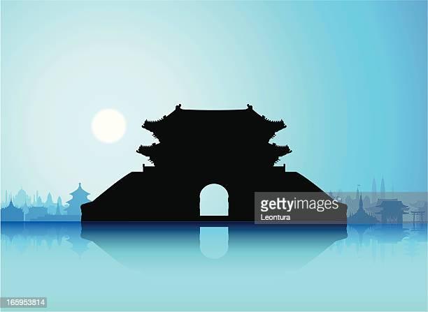 sungnyemun (namdaemun gate), korea - seoul stock illustrations, clip art, cartoons, & icons