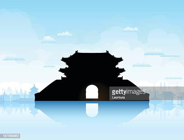 sungnyemun (namdaemun gate), korea - namdaemun gate stock illustrations, clip art, cartoons, & icons