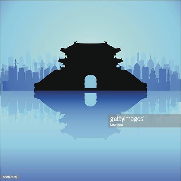 sungnyemun (namdaemun gate), korea (complete, detailed, moveable buildings) - namdaemun gate stock illustrations, clip art, cartoons, & icons