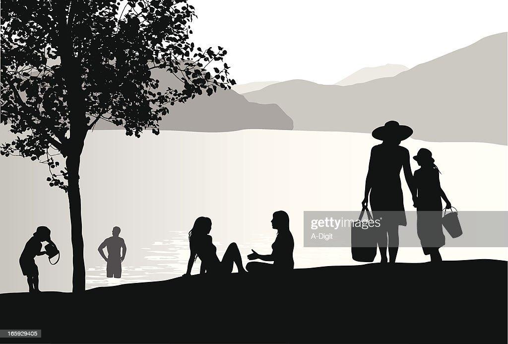 Sunhats'n Lake Vector Silhouette