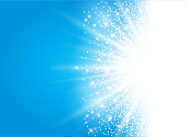 sunlight effect sparkle on blue background with glitter copy space. Abstract vector