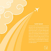 Sunny background with airplane and its tracks. Banner design