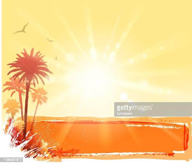 sunny botanic banner - sunny stock illustrations