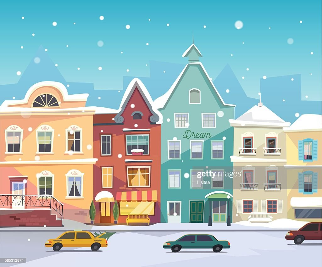 Sunny City street at Winter. Cartoon buildings. Christmas background with