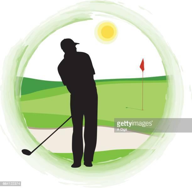 sunny day golfing - sand trap stock illustrations, clip art, cartoons, & icons