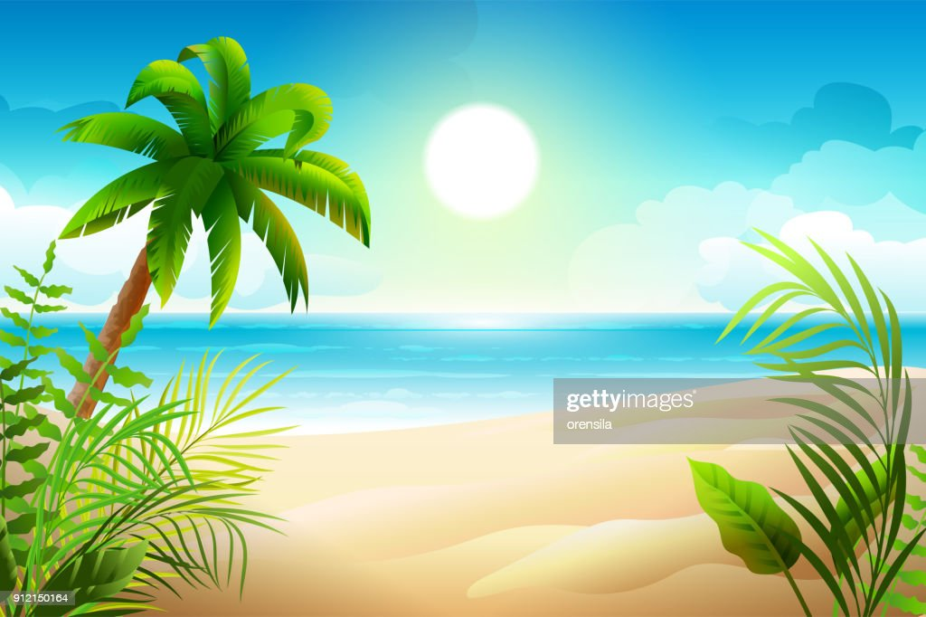 Sunny day on tropical sandy beach. Palm trees and sea paradise holidays