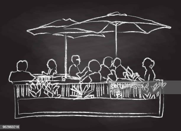 ilustrações, clipart, desenhos animados e ícones de pátio sombrio dia ensolarado - mesa mobília
