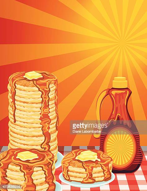 sunny morning pancake breakfast poster - maple syrup stock illustrations