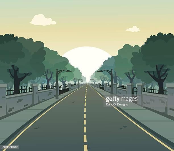 sunny road - road stock illustrations