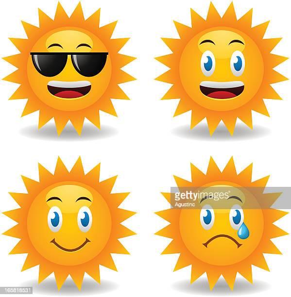 ilustraciones, imágenes clip art, dibujos animados e iconos de stock de sunny smileys - sol en la cara