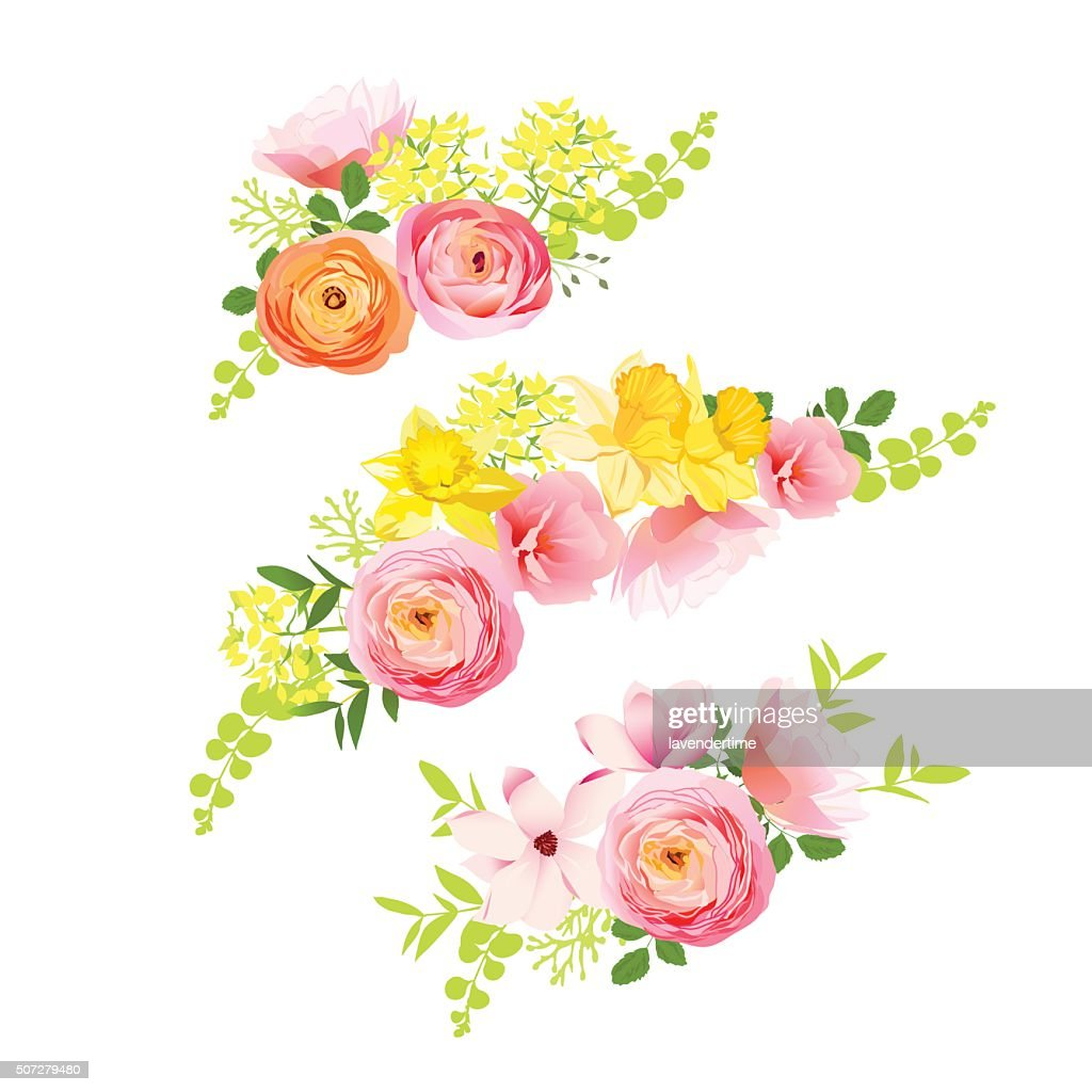 Sunny spring bouquets of rose, ranunculus, narcissus, peony.