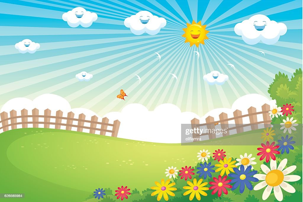 Sunny Spring Landscape Vector