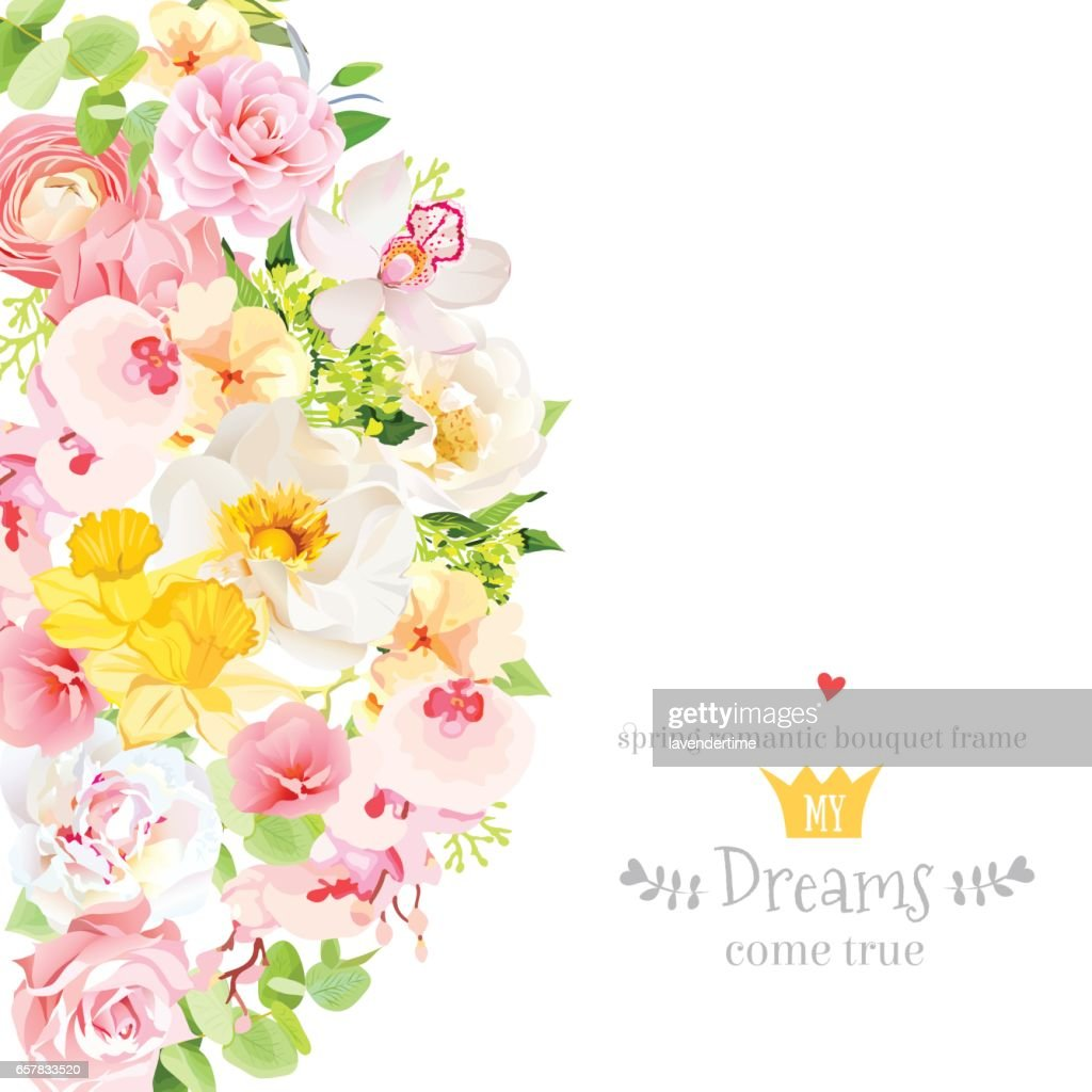Sunny spring vector design card with flowers and leaves