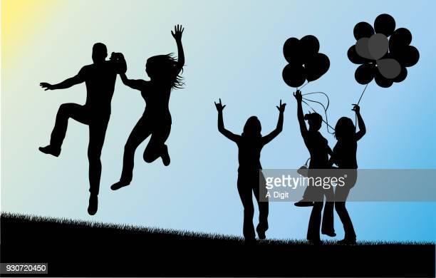 ilustraciones, imágenes clip art, dibujos animados e iconos de stock de globos del día soleado de verano - pareja bailando cuerpo entero