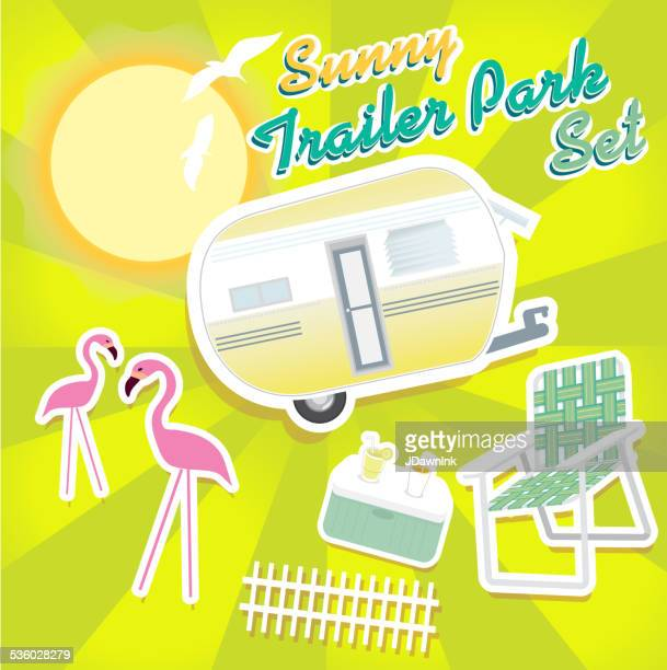 sunny trailer park summer celebration green and yellow - flamingo stock illustrations, clip art, cartoons, & icons