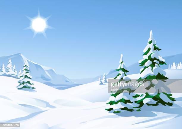 sunny winter landscape - sunny stock illustrations