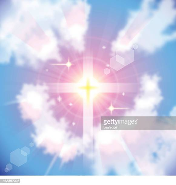 sunrise and sunlight cross - heaven stock illustrations