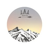 Sunrise in mountains, hand drawn vector illustration in Boho style