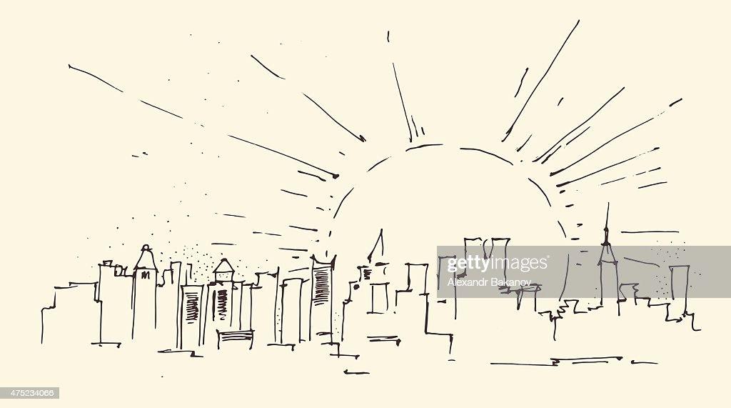 sunrise in New York city architecture