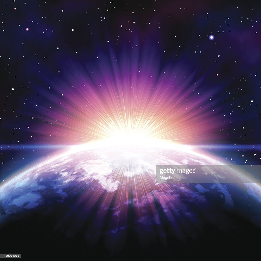 Sunrise in space : stock illustration