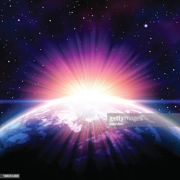 sunrise in space - spirituality stock illustrations, clip art, cartoons, & icons