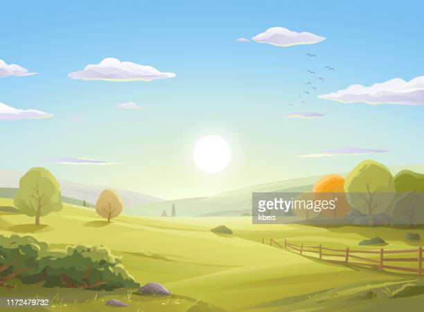sunrise over autumn landscape - horizontal stock illustrations