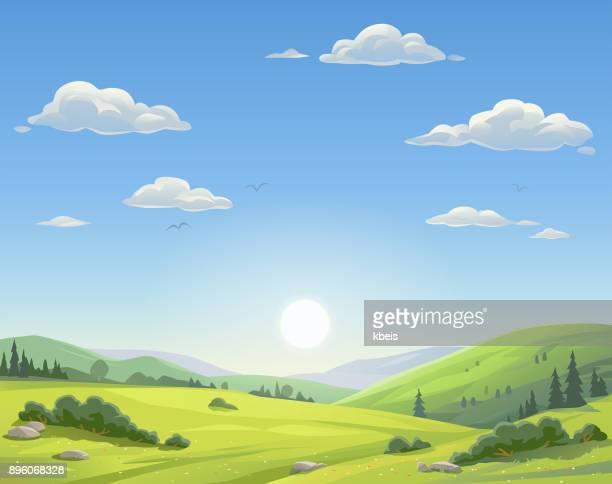 illustrazioni stock, clip art, cartoni animati e icone di tendenza di sunrise over beautiful landscape - valle