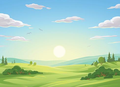 Sunrise Over Green Hills - gettyimageskorea
