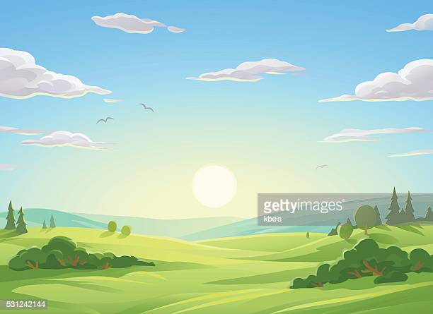 stockillustraties, clipart, cartoons en iconen met sunrise over green hills - landschap