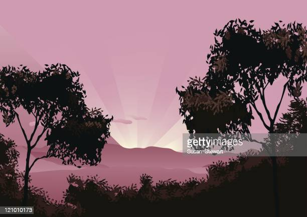 sunrise over the lost world - australia stock illustrations
