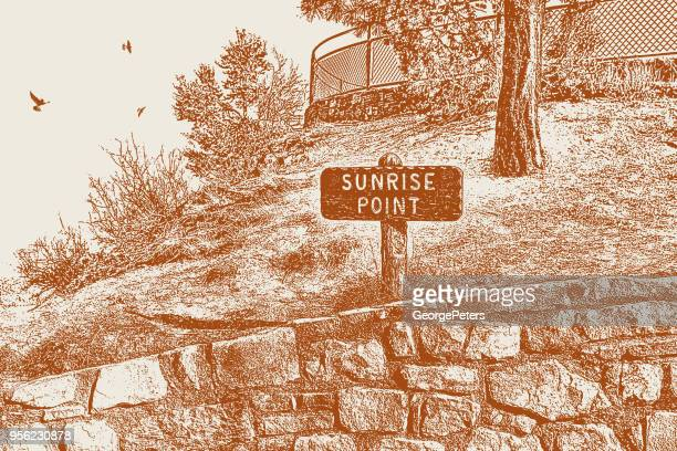 sunrise point trail sign at bryce canyon national park - sepia toned stock illustrations