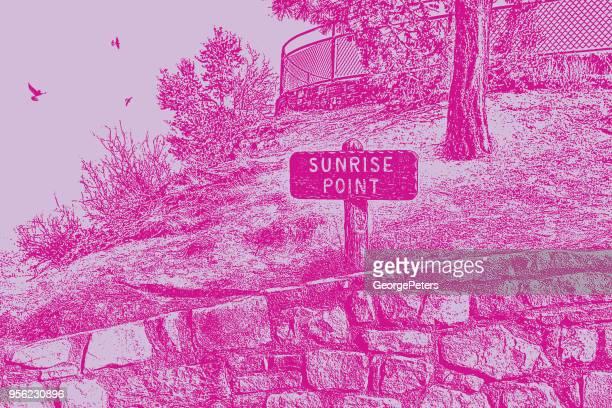 サンライズ ・ ポイント ・ トレイル標識ブライス キャニオン国立公園 - トレイル表示点のイラスト素材/クリップアート素材/マンガ素材/アイコン素材