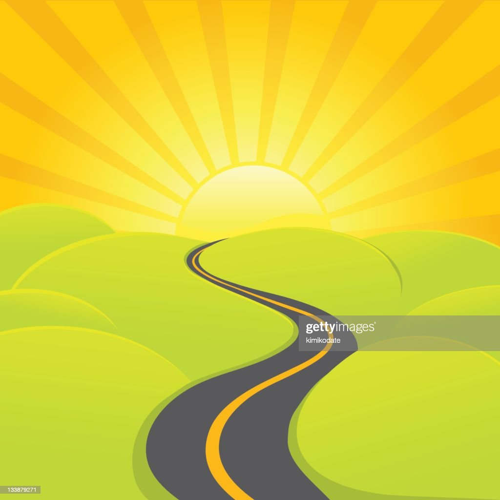 A sunrise road is winding through the country : stock illustration