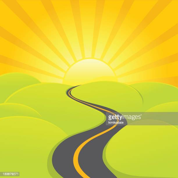 a sunrise road is winding through the country - horizon stock illustrations, clip art, cartoons, & icons