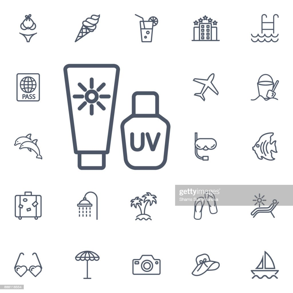 Sunscreen line icon for web, mobile and infographics.
