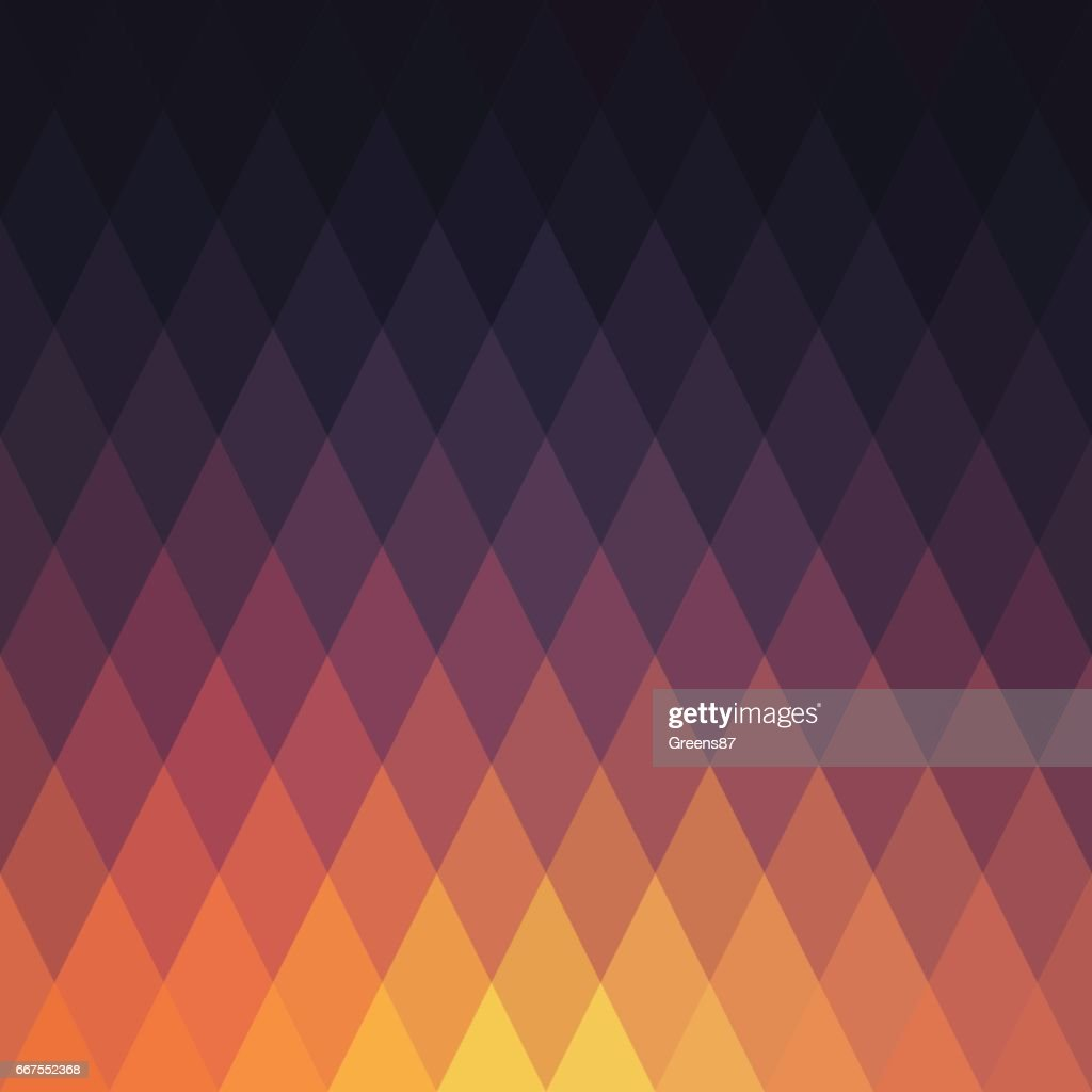 Sunset abstract geometric vector background. Retro rhombus pattern of geometric shapes. Colorful mosaic banners. : stock illustration