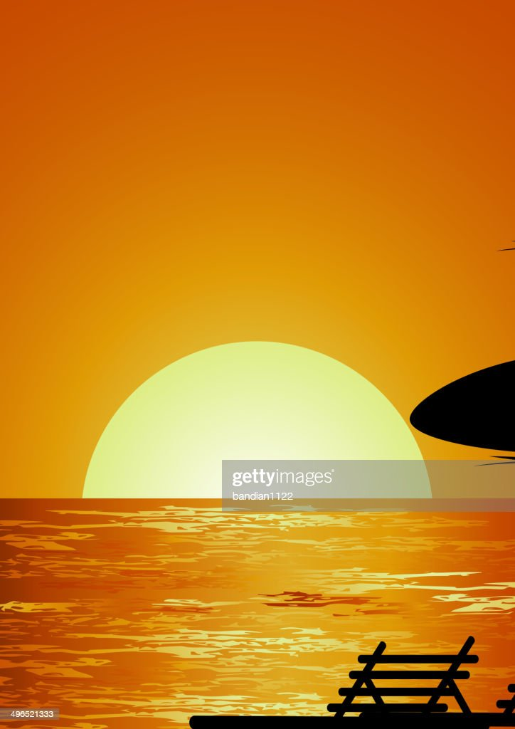 Sunset Beach Background For You Design stock illustration